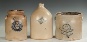 Three Decorated Pieces Of Stoneware
