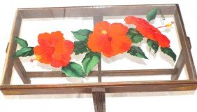 """A.E. BACKUS - """"RED HIBISCUS"""" PAINTING OIL ON GLASS"""