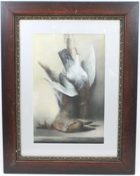 SIGNED PASTEL FEATURING DEAD BIRD AND RABBIT