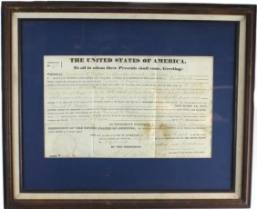 19TH C. ALABAMA LAND GRANT SIGNED - MARTIN VAN BUREN