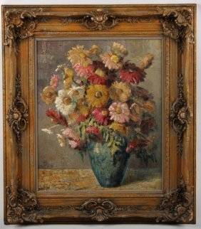 Jozsef Kadar Oil On Board Floral Still Life