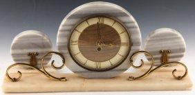 Art Deco 3 Piece Mantle Clock Set