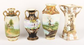 4 Hand Painted Porcelain Nippon Vases