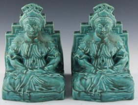Pair Rookwood Pottery Buddha Bookends 1938