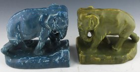 2 Rookwood Pottery Elephant Bookends 1918 1926