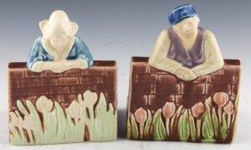 2 Rockwood Art Pottery Figural Bookend