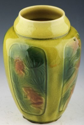 Rookwood Pottery Art Vase Frogs Fish Bird 1945