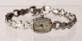 Ladies 14k White Gold Gruen Diamond Wrist Watch
