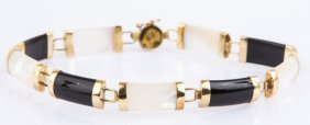 10k Yellow Gold Onyx And Mother Of Pearl Bracelet