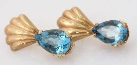 Ladies 14k Yellow Gold Blue Topaz Shell Earrings