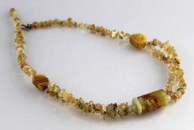 Ladies Pale Smoky Yellow Quartz Beaded Necklace