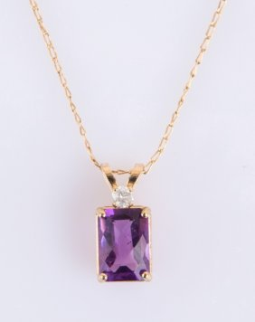 14k Gold Emerald Cut Amethyst Pendant Necklace