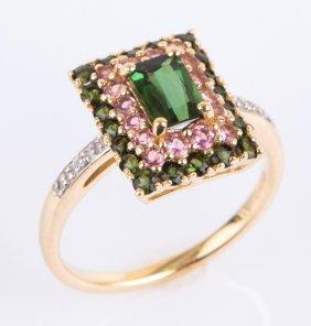 14k Yellow Gold Pink Green Tourmaline Diamond Ring