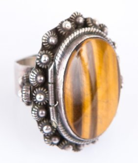 Ladies Sterling Ring With Tiger's Eye