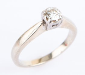 Ladies 14k White Gold .10ct Diamond Solitaire Ring