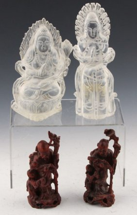 4 Chinese Carved Rock Crystal & Root Figurines