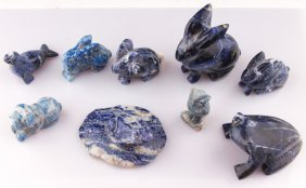 9 Carved Lapis Lazuli & Sodalite Animal Figurines