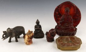 6 Chinese & Indian Bronze & Composite Figurines