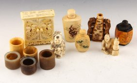 12 Chinese Bone Carvings To Include Archer Rings