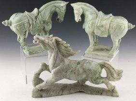 3 Chinese Carved Jade Horse Statues
