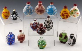 15 Chinese Peking Glass Snuff Bottles