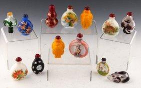 13 Chinese Peking Glass Snuff Bottles