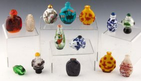 15 Chinese Snuff Bottles   Porcelain, Glass