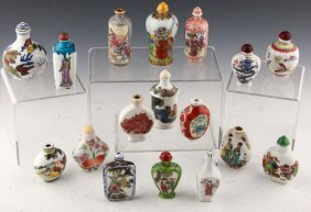 17 Chinese Porcelain Painted Snuff Bottles