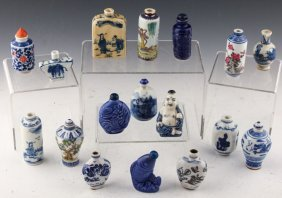 17 Chinese Blue & White Porcelain Snuff Bottles