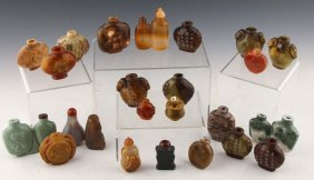24 Chinese Snuff Bottles | Agate, Soft Stone