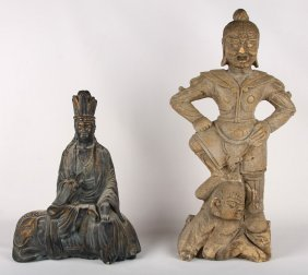 2 Asian Stone Carved Statues Chinese & Thai