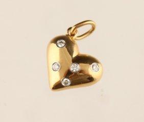 Tiffany & Co. 18k Yellow Gold Diamond Heart Charm