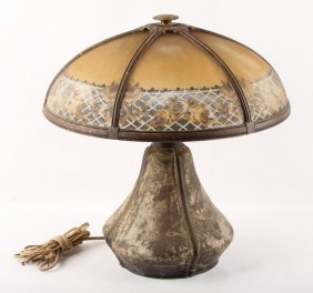 Bradley & Hubbard Slag Glass Lamp With Metal Base