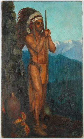 Harold Seroy Native American Chief Oil On Canvas