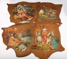 4 Native American Paintings On Leather