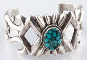 Wilson Begay Signed Sterling Turquoise Bracelet