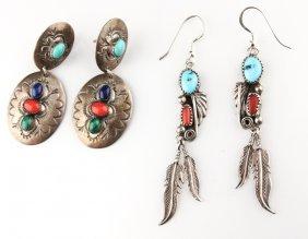 2 | Pair Of Navajo Sterling Silver Earrings