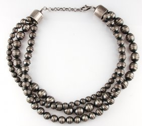 Navajo Sterling Pearl Three Strand Necklace