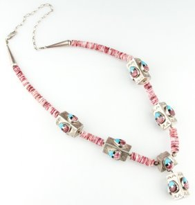 Navajo Sterling & Spiny Oyster Shell Necklace