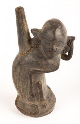 Pre-columbian Chimu Peru Monkey Effigy Jar