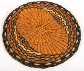 Mid 20th C Hopi Wicker Basketry Tray