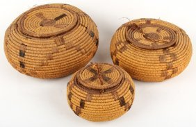 3 Native American Lidded Graduted Coil Baskets