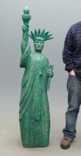 Folk Art Statue Of Liberty Carving