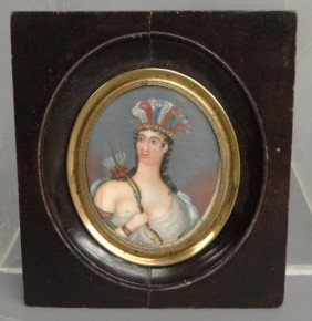 19th C. Miniature Portrait On Ivory