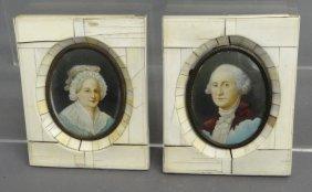 19th C. Miniature Portraits On Ivory