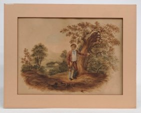 English School, Watercolor Of Child