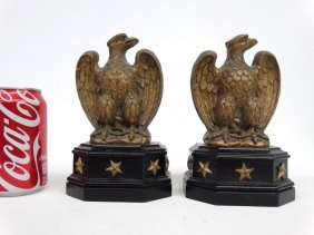 Pair Wooden Eagle Bookends