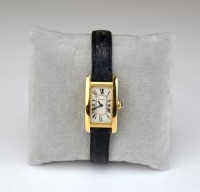 Cartier 18k Gold Tank Americaine Wristwatch