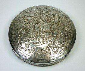 FINE PERSIAN SILVER CIRCULAR BOX