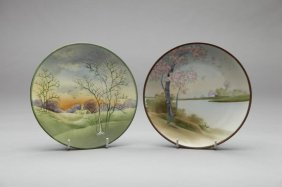 TWO SMALL NIPPON HAND PAINTED PLAQUES